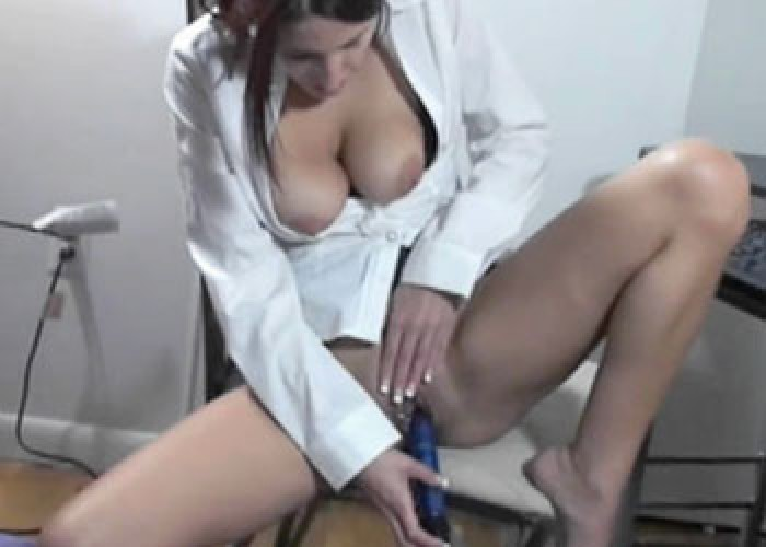 Lavender fucks a toy in her office